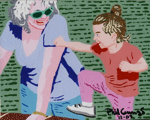 Acrylic painting Susan and Amanda by Phil Cummings