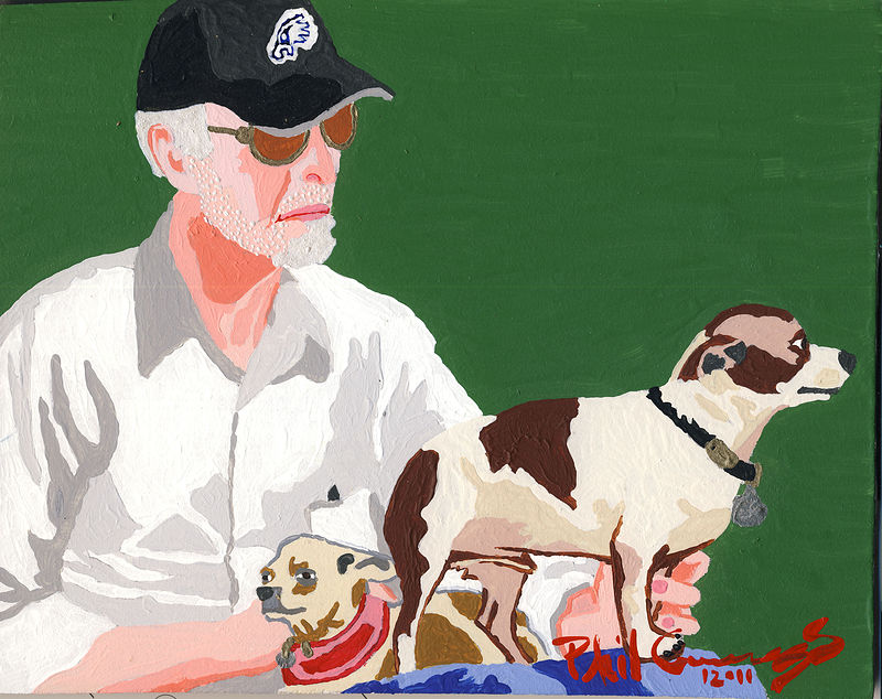 Acrylic painting Larry DiTomasso with Rusty and Bamula by Phil Cummings