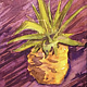 Watercolor Tiny 4x6 watercolor: Pineapple Aubergine by Pamela Neswald