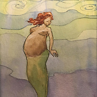 Watercolor Tiny 4x6 pregnant mermaid watercolor: Hapai by Pamela Neswald