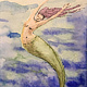 Watercolor Tiny 4x6 watercolor: Mermaid Yoga by Pamela Neswald