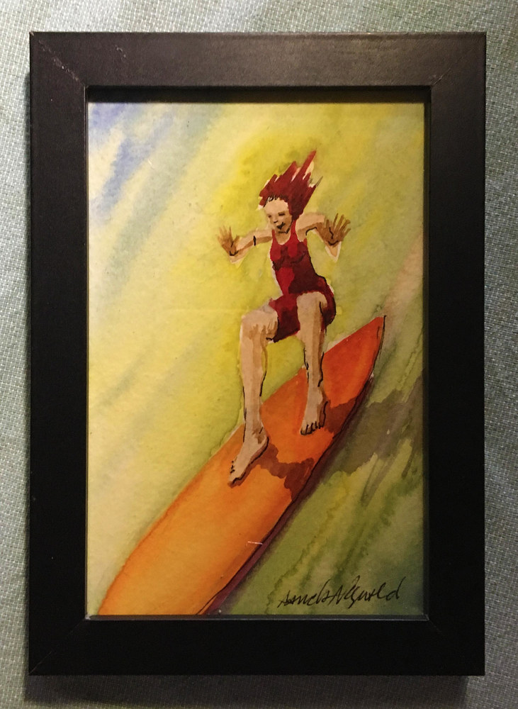 Watercolor Tiny 4x6 surfer girl watercolor: Yippee Skippy Surfergirl by Pamela Neswald