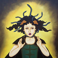 Oil painting Medusa as a boy by Armando Huerta