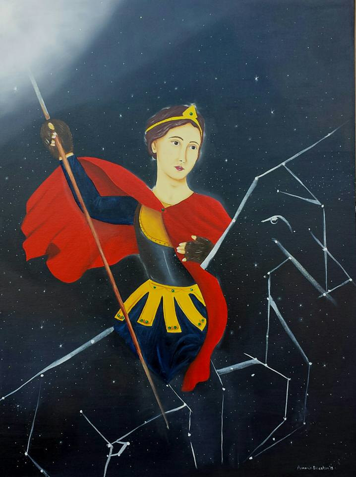 Oil painting Infinity /Joan of Arc by Armando Huerta