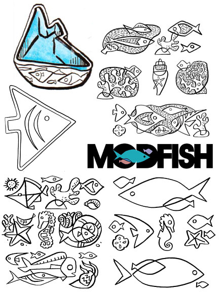 """Modfish"" development sketch by Kenneth M Ruzic"