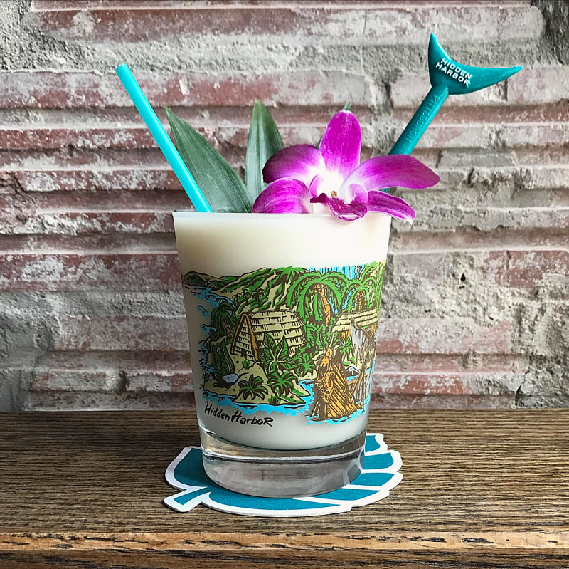 Screen-Printed Mai-Tai glass for Hidden Harbor by Kenneth M Ruzic