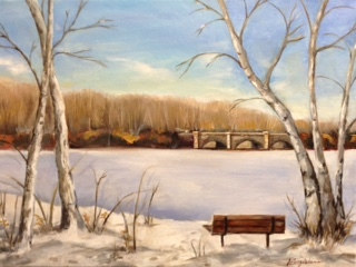 Oil painting Winter in the Park by June Long-schuman