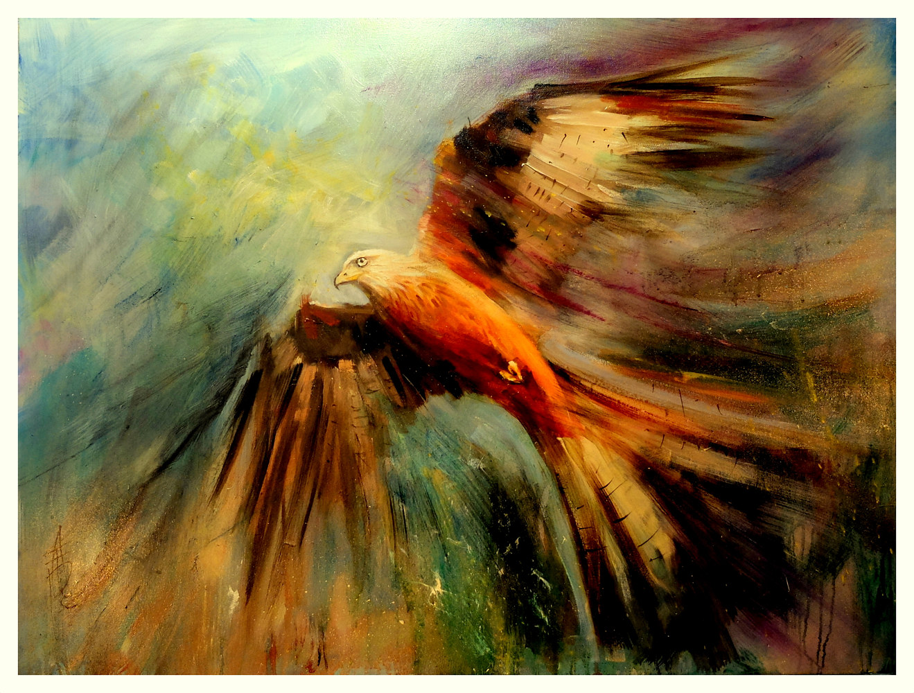 Red Kite Riding the Thermals, oil on box canvas, 30x40 by Anne Farrall Doyle