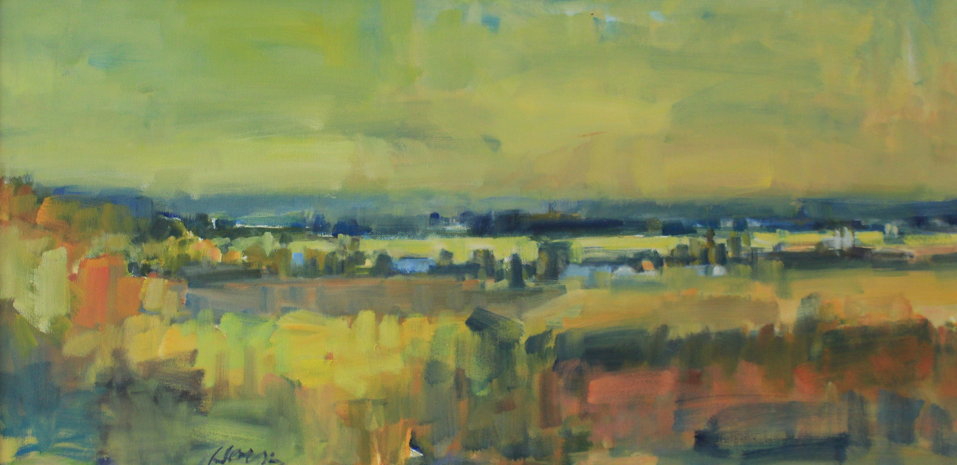 "Sunset Over St. Croix River Valley, Fall, oil on canvas, 18"" x 36"" by Susan Horn"