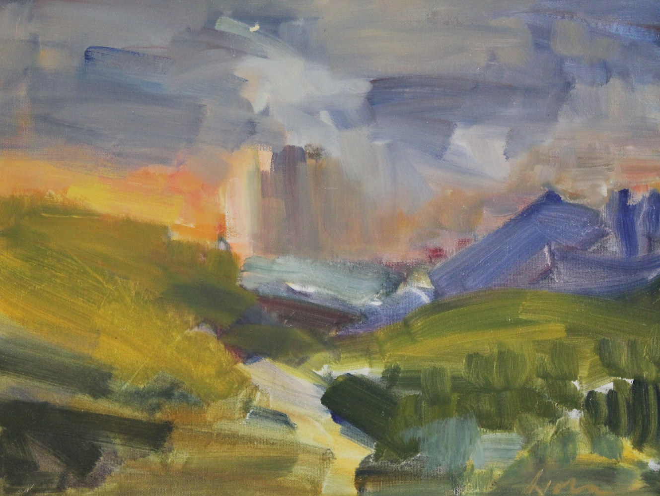 "Storm Clearing Over Keystone, oil on board, 16"" x 20"" by Susan Horn"