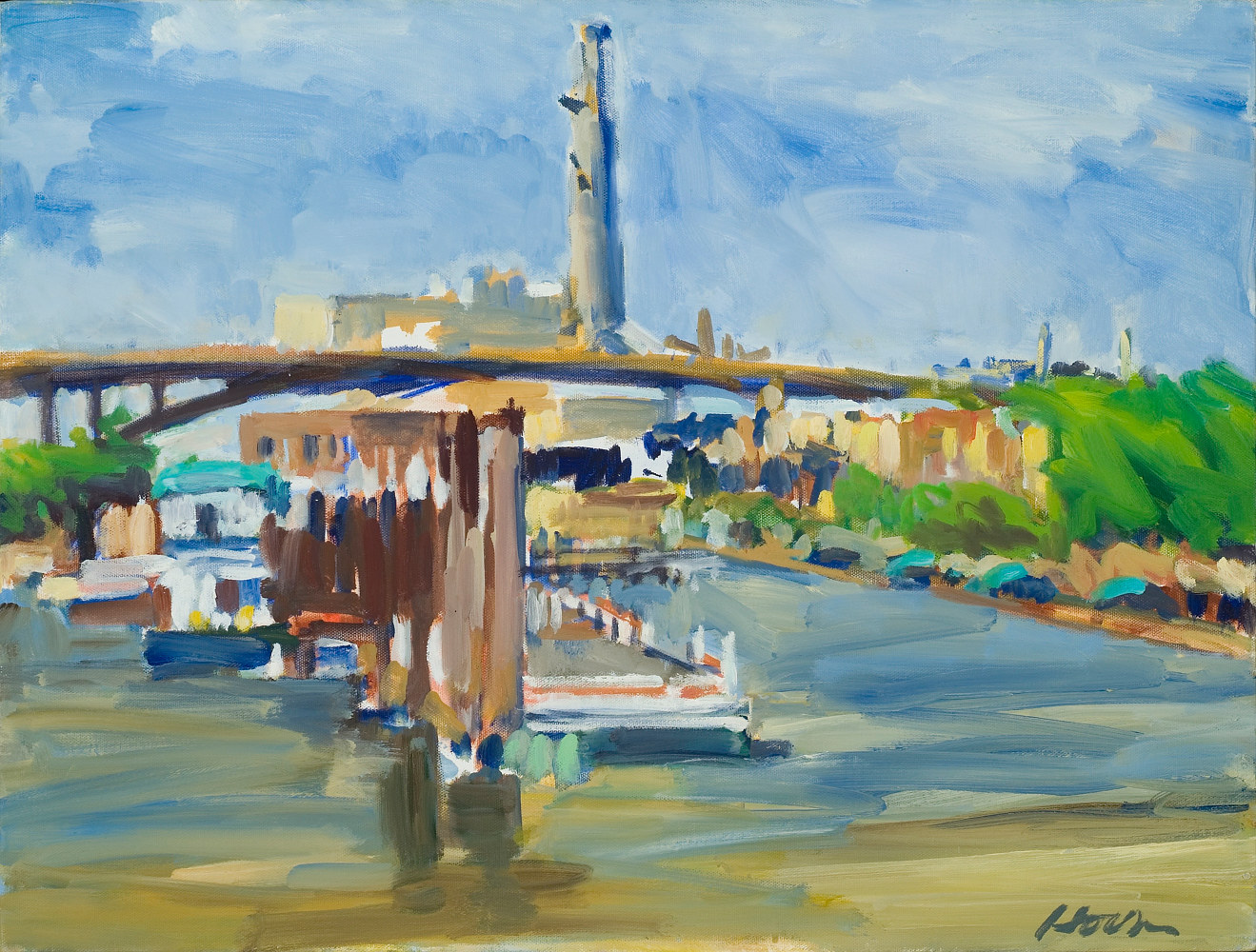 "High Bridge from Raspberry Island,  oil on canvas, 18"" x  24"" by Susan Horn"