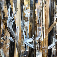 Acrylic painting Into The Wood by Linda Richardi