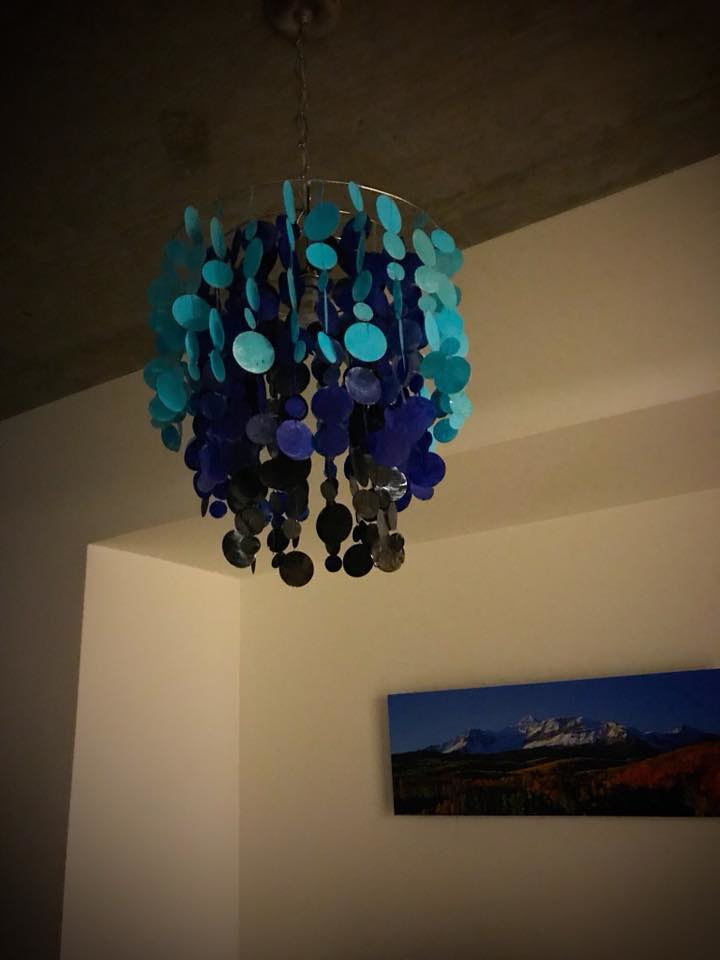 Acrylic painting painted shells chandelier by Ann Marie  Vancas