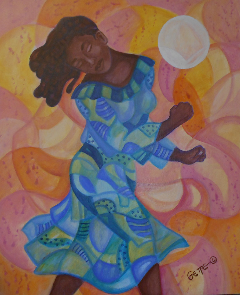 Acrylic painting DANCING TO A LEO SUN by Georgette  Jones