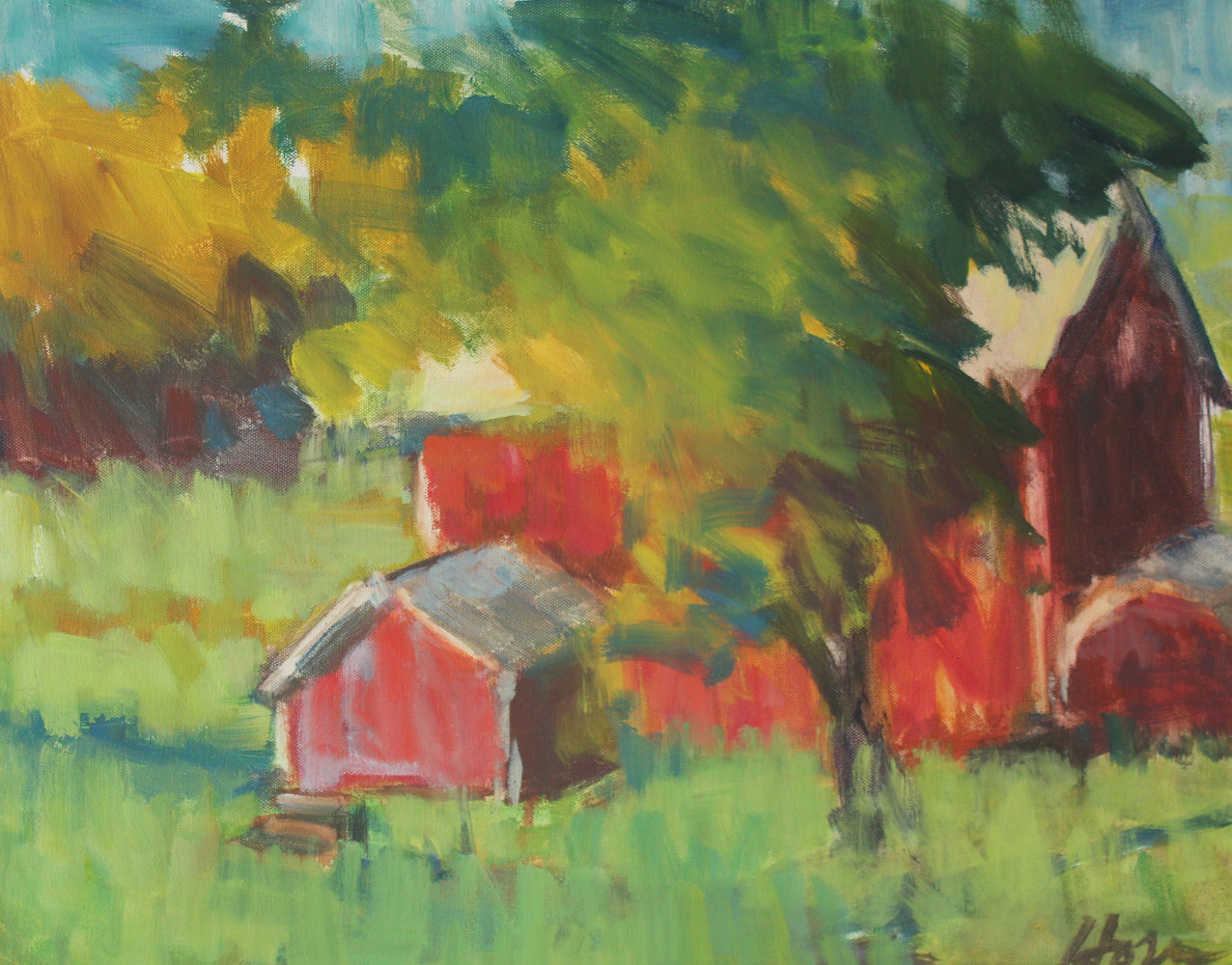 "Carol's Barn, oil on canvas, 16"" x 20"" by Susan Horn"
