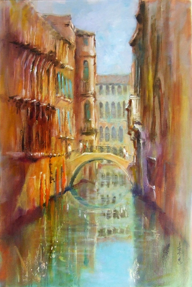 Venitian Bridge Late Evening oil on canvas 36x24 by Anne Farrall Doyle