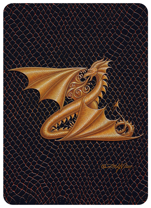 "Print Dragon Z, gold 5x7"" by Sue Ellen Brown"