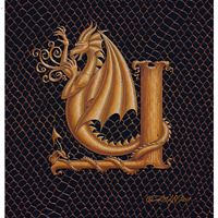 "Print Dragon Y, gold 5x7"" by Sue Ellen Brown"