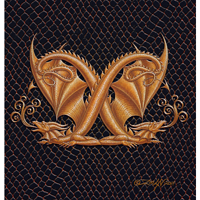"Print Dragon X, gold 5x7"" by Sue Ellen Brown"