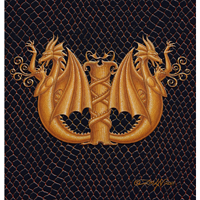 "Print Dragon W, gold 5x7"" by Sue Ellen Brown"