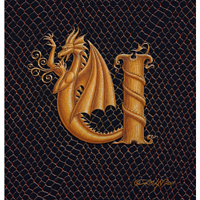 "Print Dragon U, gold 5x7"" by Sue Ellen Brown"