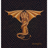 "Print Dragon T, gold 5x7"" by Sue Ellen Brown"
