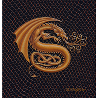 "Print Dragon S, gold 5x7"" by Sue Ellen Brown"