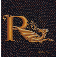 "Print Dragon R, gold 5x7"" by Sue Ellen Brown"