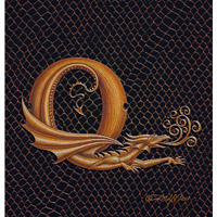"Print Dragon Q, gold 5x7"" by Sue Ellen Brown"