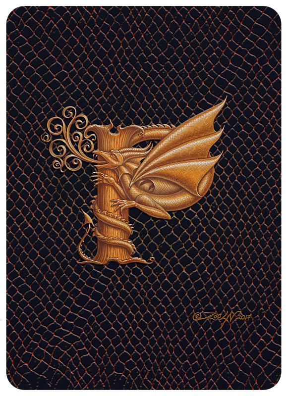 "Print Dragon P, gold 5x7"" by Sue Ellen Brown"