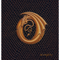 "Print Dragon O, gold 5x7"" by Sue Ellen Brown"
