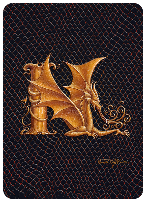 "Print Dragon N, gold 5x7"" by Sue Ellen Brown"