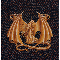 "Print Dragon M, gold 5x7"" by Sue Ellen Brown"