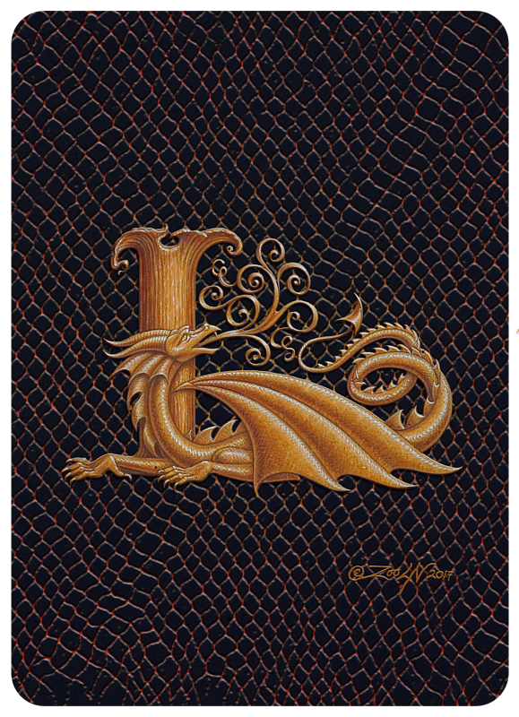 "Print Dragon L, gold 5x7"" by Sue Ellen Brown"