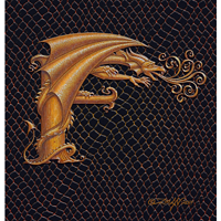 "Print Dragon F, gold 5x7"" by Sue Ellen Brown"