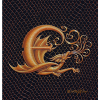 "Print Dragon E, gold 5x7"" by Sue Ellen Brown"