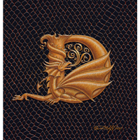 "Print Dragon D, gold 5x7"" by Sue Ellen Brown"
