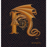 "Print Dragon H, gold 5x7"" by Sue Ellen Brown"