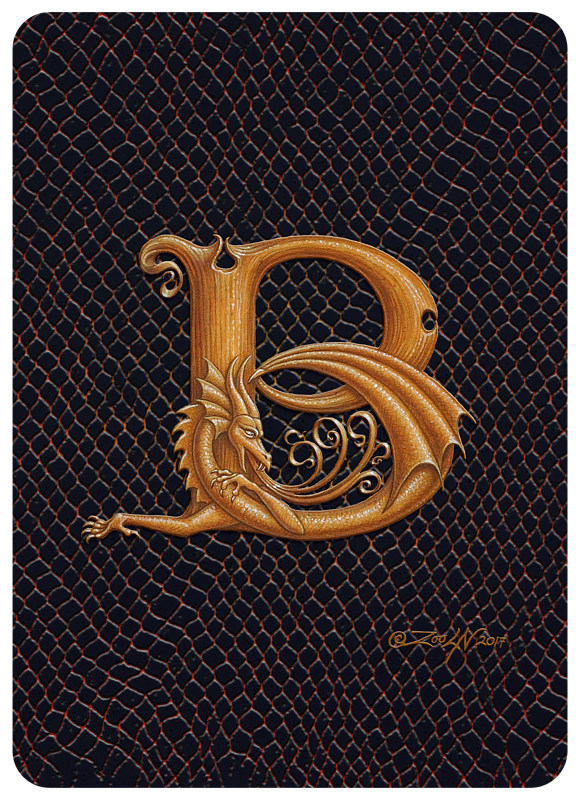 "Print Dragon B, gold 5x7"" by Sue Ellen Brown"