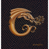 "Print Dragon C, gold 5x7"" by Sue Ellen Brown"