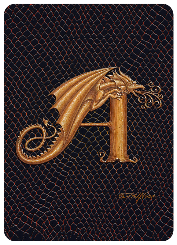 "Print Dragon A, gold 5""x7"" by Sue Ellen Brown"