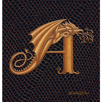 "Print Dragon A, gold 5x7"" by Sue Ellen Brown"