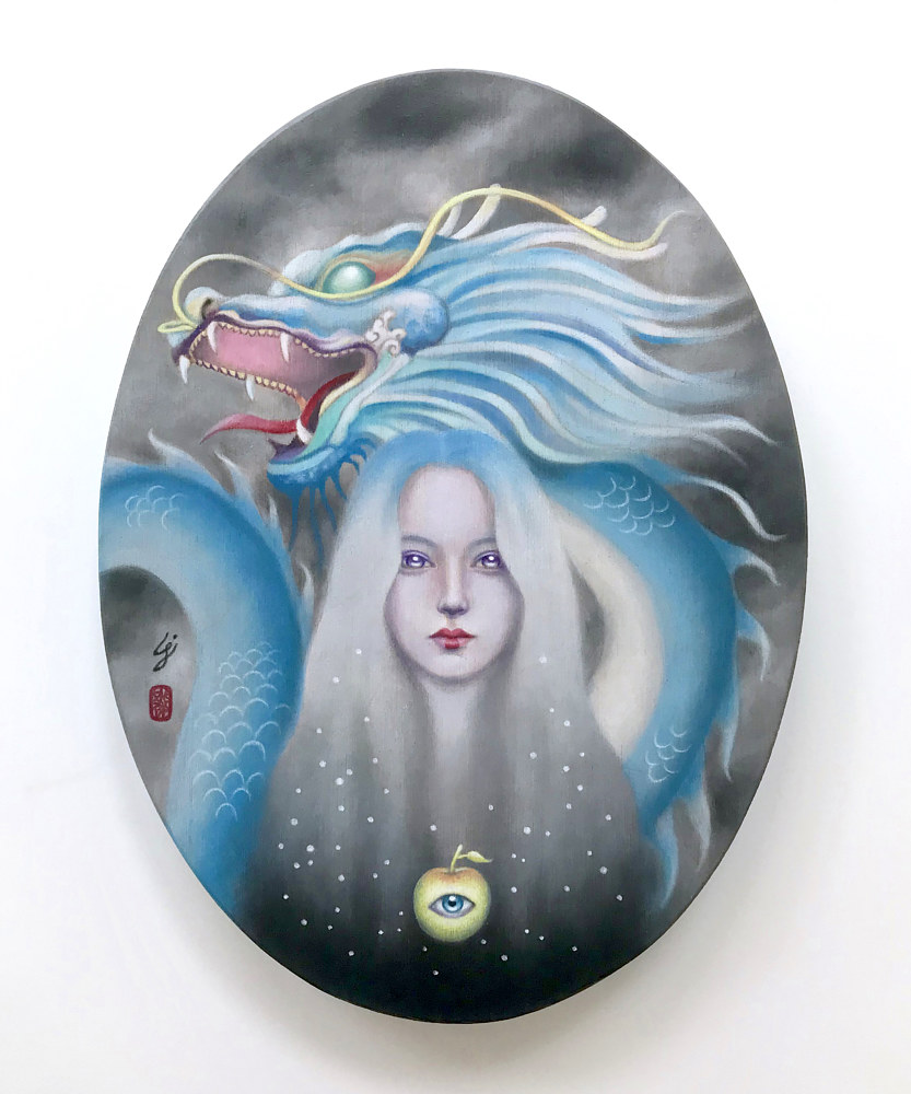 Oil painting Draco guarding Immortality by Carolina Seth