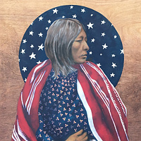 Acrylic painting Comanche Woman  by Stuart  Sampson