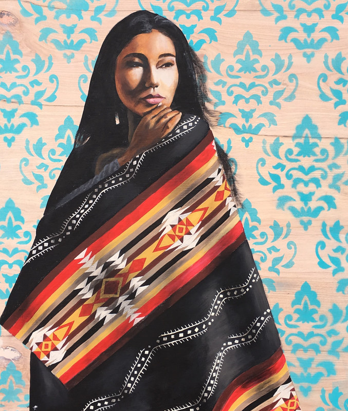 Acrylic painting Native Beauty  by Stuart  Sampson