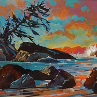 Crystal Cove Evening  Acrylic 18x36 2018 by Brian  Buckrell