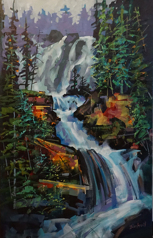 Tangle Falls  Acrylic 24x36 2018 by Brian  Buckrell