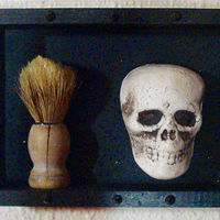 Mixed-media artwork a brush with death by John Clinock