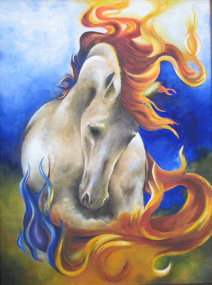 Oil painting Power and Glory  by Randi Evans