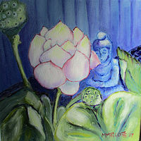 Oil painting Brenda's Lotus garden by Michelle Marcotte